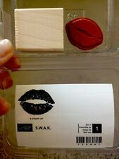"""""""S.W.A.K."""" Stampin'UP! NEW~wood mount-RARE-Puckering lips~ Sealed with a Kiss"""