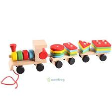 Dazzling Toys Kids Wooden Pull Along Shapes Train Stacking Building Block Sorter