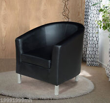 Black Faux Leather Tub Club Chair Armchair Dining Living Room Office Reception