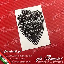 1 Adesivo Resinato Stickers 3D Ducati Meccanica Scudetto Nero e Bianco 70 mm