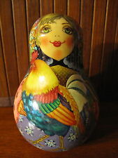 Russian Rolly Polly Music Loud Bell Wooden Doll - Girl with Rooster Matryoshka