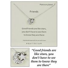 Platinum Plated Friends are Like Stars Necklace Sparkly Gift Special Words