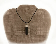 Black Tourmaline Healing Crystal Pendant Necklace PB-9 Rubber Cord Protection