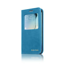 Juicy Case Flip Magnet S View Smart Cover Case for Samsung Galaxy S6 Edge - Blue