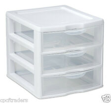 3 Drawer Organizer Mini Unit Small Pieces Storage White and Clear Front Plastic
