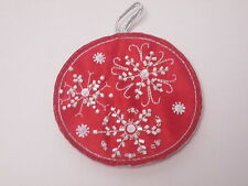 Red Christmas Snowflake Hanging Bauble Embroidered Motif Xmas Decor 88mm #11E14
