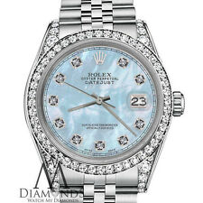 Woman's Rolex 26mm Datejust Baby Blue MOP Mother Of Pearl Diamond Dial Watch RRT