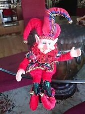 """14"""" BENDABLE POSEABLE ORNATE RED & PLAID CHRISTMAS ELF JESTER PIXIE ~ NEW"""