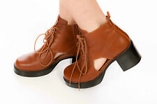 Chunky tan leather TOPSHOP lace up ankle boots cut out sides size 7