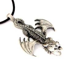 New Large Pewter Celtic Fire Dragon Pendant Necklace P268
