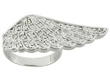Bella Luce (R) 0.85ctw Round, Rhodium Plated Sterling Silver Angel Wing Ring
