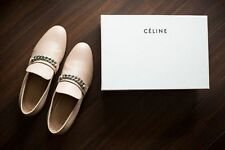 CELINE Nude Beige Leather Chain Flat Smoking Slipper Loafers Shoes $895 Size38.5