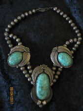 Gioielli indiani: antica Choker, Sterling-Argento, grande verde-turchese, firmato