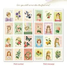 1 SET 2 SHEETS Korean Japanese Sticker Set, Vintage Floral Girls Deco Stamps