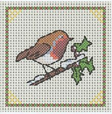 NEW ITA CROSS STITCH COASTER KIT - Christmas Robin  #11a
