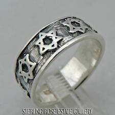 JEWISH STAR MEN'S Sterling Silver Estate BAND RING size 10.5  free shipping