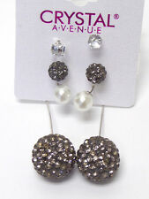 EARRINGS BLACK FIREBALL Crystal Pearl Double Ball Double Sided  3 Piece Set