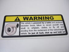 Turbo Warning Sticker Decal Funny Boost EVO Scooby JDM VAG EURO