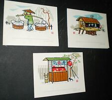 Set of 12 Vintage Illustrated Note Cards (Japan, Fukuda Card Company, 1950s/60s)