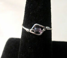 STERLING SILVER AMETHYST WIRE RING WITH A GIFT RING BOX - SIZE 7