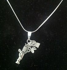 Gun - Pistol - Rose Fashion Tibetan Charm on Sterling Silver Necklace - Gift