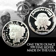 "1 oz- 1 TROY OUNCE .999 FINE SILVER PROOF "" PEACE  ""  APOCALYPSE ZOMBIE COIN"