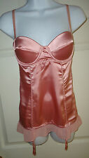 NEW NWOT VICTORIA'S SECRET SEXY LITTLE THINGS PINK SLIP CHEMISE GARTERS 34C 34 C