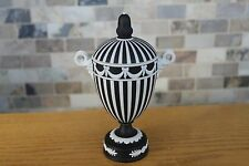 Wedgwood Black Jasper Ware Engine Turned Covered Urn Bacchus Heads With Horns