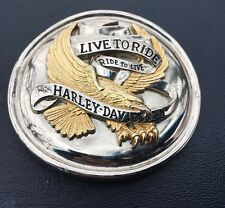 Harley Davidson Belt Buckle Live To Ride Silver/Gold