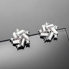 Elegant Rhinestone Windmill Ear Stud Fashion 925 Silver Plated Crystal Earrings