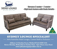 Brand New- AUS MADE Versace 3 seater + 2 seater Sofa Lounge Couch (Studs Detail)