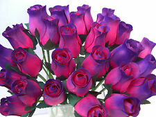 100 CERISE / PURPLE TIP WOODEN ROSES WEDDING FLOWERS WHOLESALE FLORAL SUPPLIES