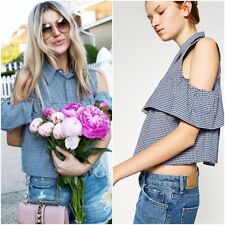ZARA NAVY BLUE GINGHAM CUT-OUT SHOULDER SHIRT FRILLED TOP SIZE S