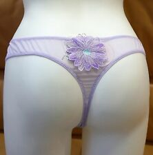 PANTIES THONGS SHEER STRETCH LILAC MADE IN EUROPE SEXY SOLID EMBROIDERED L