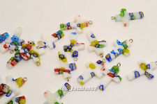 FREE Wholesale Lot 50ps Flower Millefiori Glass Cross Silver Plated Bead Pendant