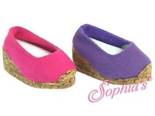 """PURPLE Cork Wedge Canvas Espadrille Shoe for 18"""" & American Girl Doll Shoes"""