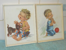 VINTAGE RETRO KITSCH 1950/60s CONSTANZA FRAMED CHILDREN PRINTS PICTURES