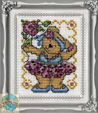 Cross Stitch Kit Design Works Ballerina Teddy Bear Picture w/Frame & Mat #DW602
