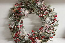 Illuminated Snowy Wreath with Berries and Pinecones by Valerie RTL$32