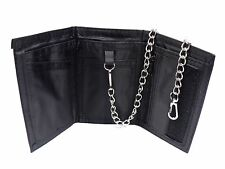 MENS LADIES BLACK SUPER SOFT REAL LEATHER SPORTS WALLET WITH DETACHABLE CHAIN