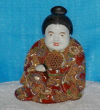 "Japanese Satsuma Oriental Figurine Hand Decorated 6"" tall Base 5""L c1920s"