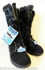 SKECHers Shape UPS walking black shoe boot winter fur NEW 5 35 leather standing