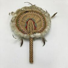 Native American Indian Prayer Dance Feather Fans Vintage Hand Woven