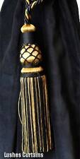 Black & Gold Color Window Treatment Curtain Drapery Tassel Rope Tieback/Holdback