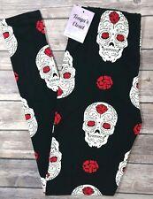 Skull Print Leggings Skeletons Brains Black Red ONE SIZE OS