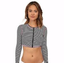 NWOT Volcom 'Broken Lines' Long-Sleeve Rashguard Top Striped White/Black Size L