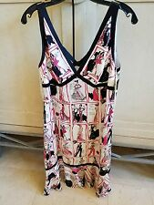 $310+NWT BASIX II SILK SEQUIN ZIP PRINT V NECK DRESS SZ 12 BLACK TRIM PINK WHITE