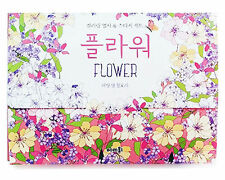 Flower Illustrated Dessain Tolra Anti Stress Adult Coloring Book Postcards Set
