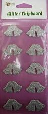 SPECIAL 5 packs - 10 Silver Glitter Chipboard Wedding Bells Stickers