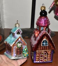 2-Christopher Radko Little Curch Chapel Hill Christmas Ornaments